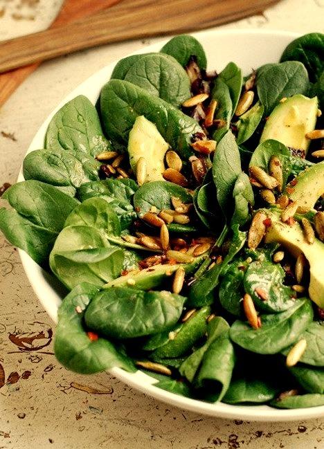Avocado and Spinach Salad with Chili Lime Vinaigrette