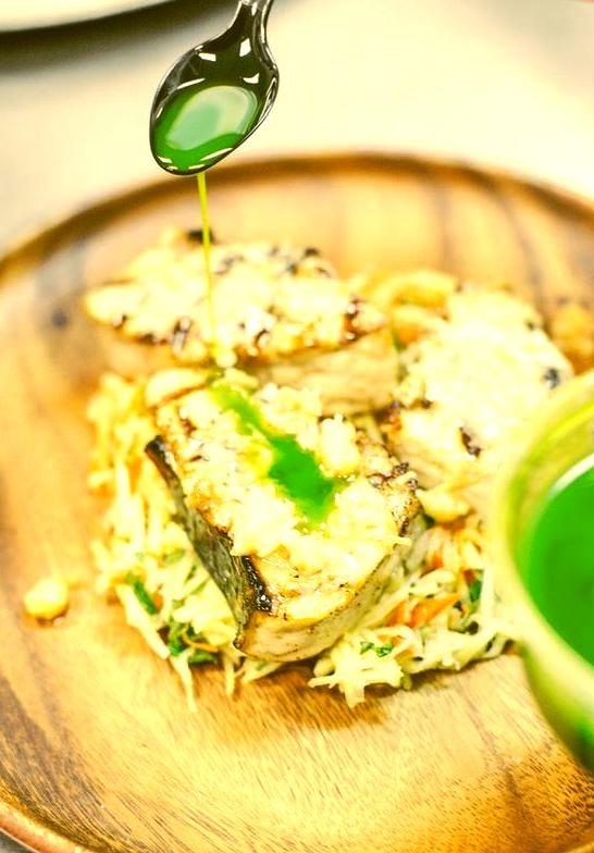 Grilled Opah and Papaya Salad with Fresh Basil Oil