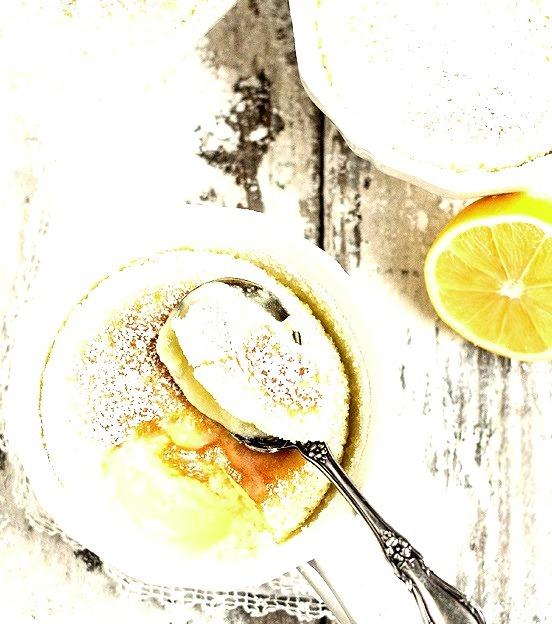 warm lemon pudding cake.