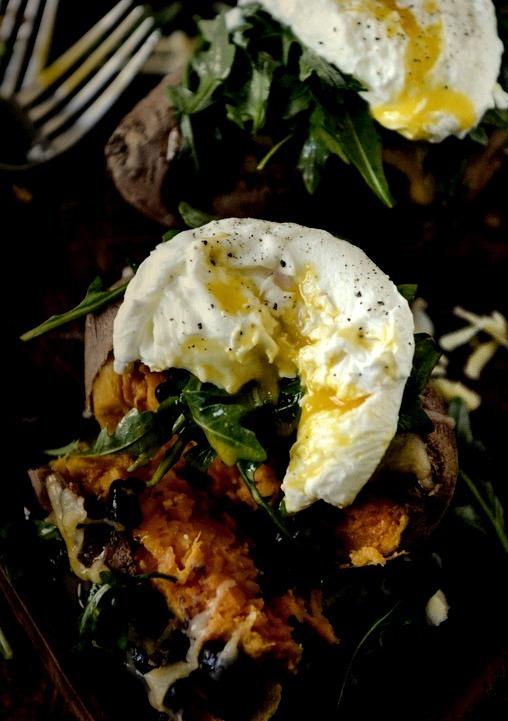 Black Bean, Arugula + Poached Egg Stuffed Sweet Potatoes How Sweet Eats